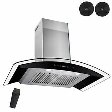 "New 30"" Wall Mount Black Ductless Stainless Steel Range Hood Stove Vents Kitchen"