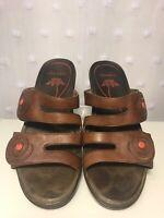 Dansko Brown Leather Cut Out Slip On Adjustable Comfort Sandals Womens Sz 6.5 -7
