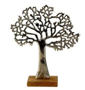 Deko Baum silber Metall Holz Figur Schrankdeko Skulptur modern edel Fensterdeko