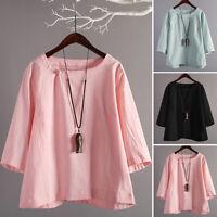 Mode Femme Col rond Manche 3/4 Solid Plain Loose Tops Hauts chemise T-shirt Plus