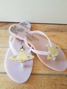 Womens Vivienne Westwood + Melissa gold Orb Sandals Flats size 37 uk 3 ,3.5