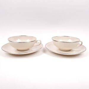 2 Sets Franciscan Platinum Band Encanto Ivory Tea Cups & Saucers