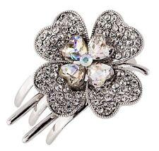 Hair Clip Claw using Swarovski Crystal Hairpin Flower Bridal Wedding Silver AB 4