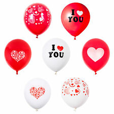 Pack of 12 Red & White Valentine's Day / Wedding / Anniversary Latex Balloons