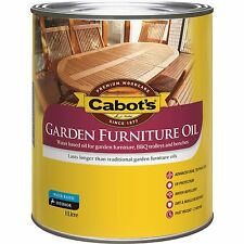 Cabot's GARDEN FURNITURE OIL Wood Care UV Protection Water Based MERBAU BROWN 1L