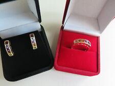 10K Yellow Gold Multi-color Gemstones Ring Earrings Set (#297)
