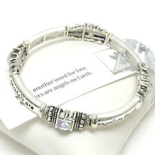 Mother Another Word For Love Angel on Earth Stackable Bracelet Inscription USA