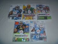 Madden NFL 08 09 All-Play 10 11 & 13 Nintendo Wii 5 Game Football Set Lot