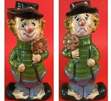 """TURNABOUT CLOWN FIGURINE 8 3/4 """" VINTAGE HAPPY FACE SAD FACE HAND DECORATED"""