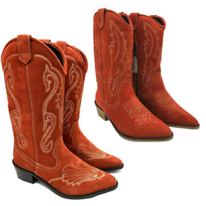 Red Cowboy Boots Suede Distressed Leather Vintage Rust 70's Boho Cuban Western
