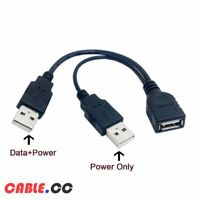 Cablecc USB 2.0 Female A to Dual A Male Extra Power Data Cable for Hard Disk