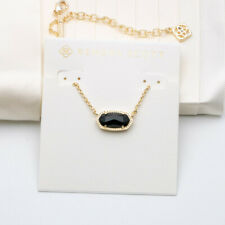 Kendra Scott Elisa Gold Pendant Necklace in Black New $65
