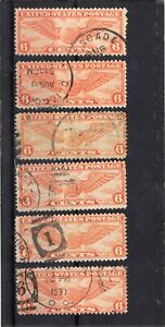 U.S. AIR MAIL SCOTT #C19  GROUP #2 OF 6 USED STAMPS WITH VARIOUS CANCELS.