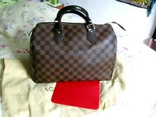 Louis Vuitton Damier Ebene Speedy 30 with Red Base Liner & Dust Cover