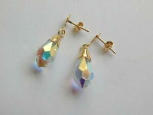 New 9ct Yellow Gold Austrian Crystal Drop/Dangle Earrings.