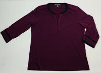 Karl Lagerfeld Womens XL Purple Button Neck Top Blouse 3/4 Sleeves Slinky
