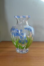 Vintage glass vase never been used hand painted blue flowers