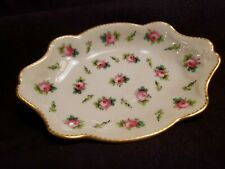 """1905 Mintons for Tiffany & Co Roses Pin Ring Tray 4.75"""" x 3 3/8"""" H819 VGUC"""
