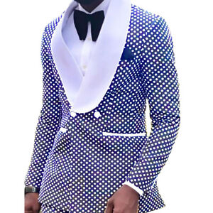 Premium Men Suit Polka Dots Royal Blue Shawl Lapel Tuxedos Wedding Slim Fit Prom