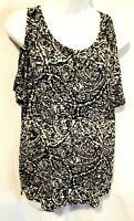 Lucky Brand Blouse Large Black Ivory Paisley Cold Shoulder Short Sleeve T-Shirt