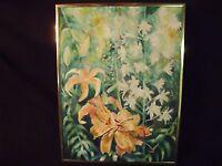 Exceptional Amateur Art Vintage Still Life Tiger Lilllies & Hollyhocks Painting