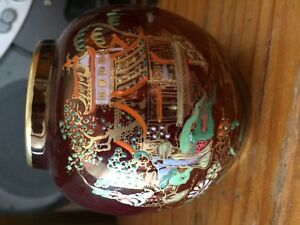 Carltonware Rouge Royale Urn Chinese Pagoda Design With Intricate Hand Painting