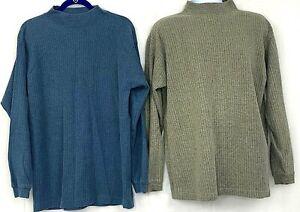 Vtg Chesterfield Men Sweater Lot OF 2 Mock Neck Ribbed Blue Beige Cotton Blend M