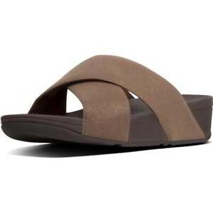 FitFlop LuLu Shimmerlux Cross Slide Womens Brown Strappy Sandal Size 3-9