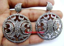 Silver Victorian Dangle Style Earrings 4.48ct Antique Rose Cut Diamond Sterling