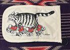 Retro Kliban Cat rollerskating cat potholder