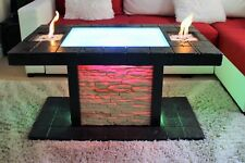 Solid Coffee Table  Fire Pit LED Table BioEthanol Fireplace Burner Shisha Hookah