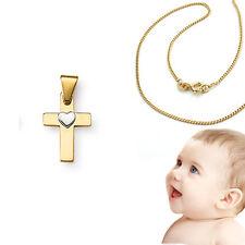 Kreuz Anhänger Echt Gold 585 Herz Weißgold mit 36cm Kette Silber 925 vergoldet