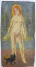 Bruno FERRATI (Genova 1892-1963) Nudo con cane nero dipinto cm 34x18 anno 1958