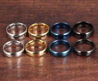 Herren Damen Edelstahl Titan Ring 8 mm Silber Gold Blau Schwarz hohe Qualität