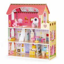 Puppenhaus XXL Großes Set aus Holz LED Beleuchtung Spiel Haus Groß mit Möbel