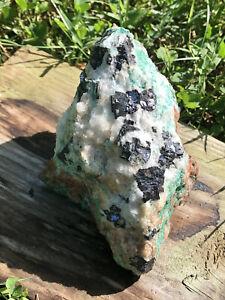 "malachite & galena in quartz- large 4.4"" galena, malachite, azurite & quartz"