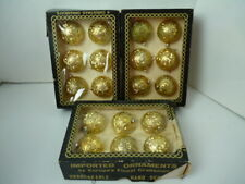 Lot of 3 box Vintage unbreakable christmas ornaments - gold - made in italy -