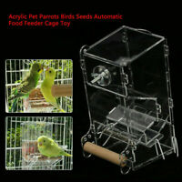 Clear Acrylic Parrot Cockatiel Bird Automatic Feeder Food Water Hopper Feeding