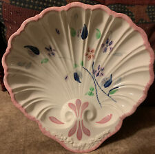 "vintage blue ridge china pottery hand painted floral 9""  shell shaped dish"