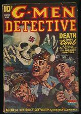 G-MEN DETECTIVE Winter 1944 Pulp Magazine RUDOLPH BELARSKI Nazi Skull Cover VG