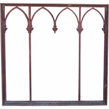 Antique American Gothic Revival Wrought Iron Window Grille Frame 1929