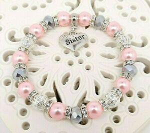Personalised Silver Crystal Pink Mum Sister Nanny Auntie Niece Charm Bracelet