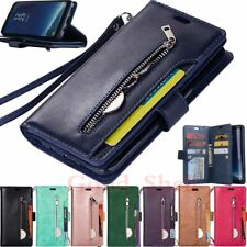 For Samsung S20 S10 S9 S8 S7 Note 20 Ultra Zipper Wallet Flip Leather Case Cover