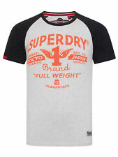 Superdry Full Weight Raglan T-Shirt in Silver / Bass Blue, BNWT, RRP £26