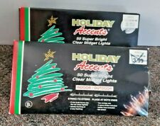 Holiday Accents 50 Clear Midget Indoor/Outdoor Christmas Lights 2 Boxes New