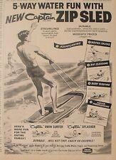 1965 Captain Zip Sled~Swim Surfer Splasher Vintage Toy Promo Trade Print Art AD