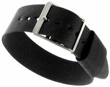 18mm Sport Strap Wrap Thin Nylon Buckle Black Replacement Watch Band 2HRT