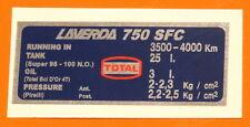 LAVERDA 750 SFC CAPACITIES/TYRE PRESSURE DECAL- PIRELLI