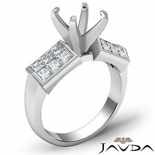 Natural Diamond Engagement women's Ring Round Semi Mount 14k White Gold 1.06Ct