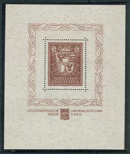 LIECHTENSTEIN #115 Souvenir sheet, og, NH, VF, w/cert